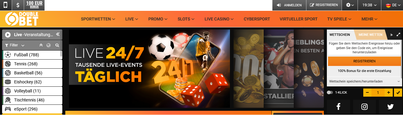Double Bet Homepage